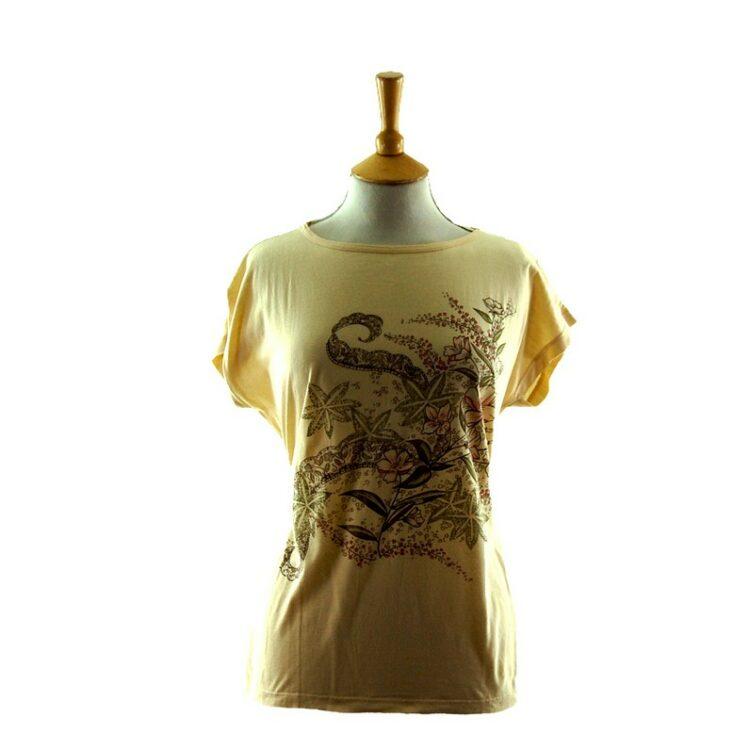 Womens Floral Print 80s t shirt
