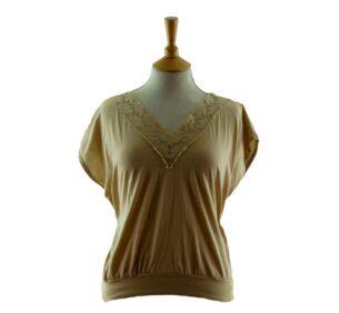 Womens V Neck Lace Trim 80s Tee Shirt