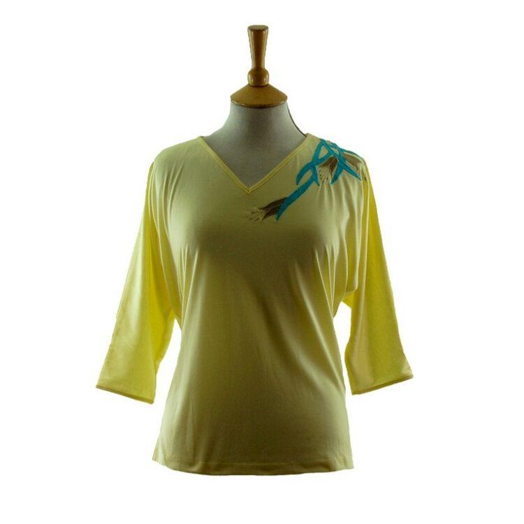 Womens Yellow Applique 80s T Shirt