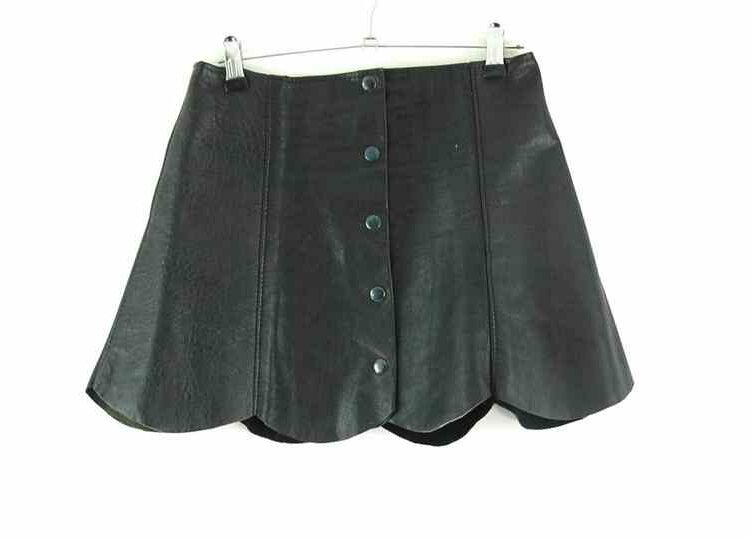 70s Leather Button Through Mini Skirt