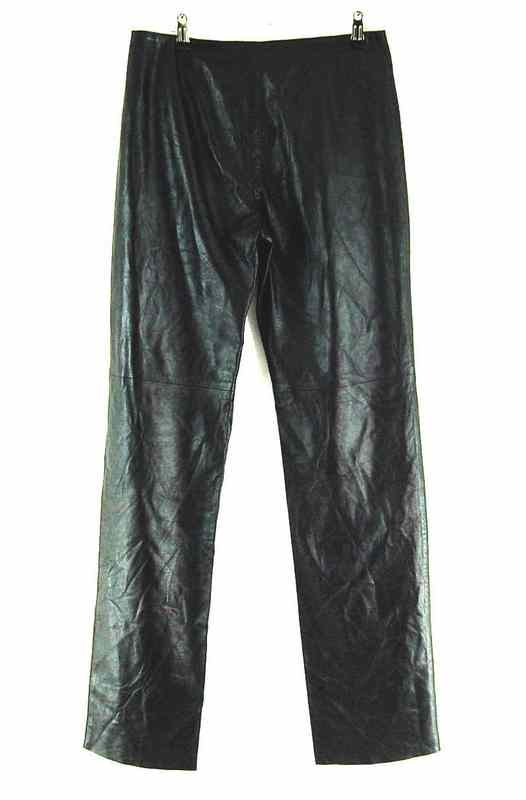 Back of 90s Straight Leg Leather Trousers