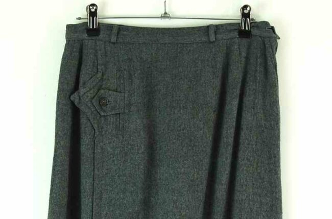 Close up of front of 60s charcoal grey wool skirt