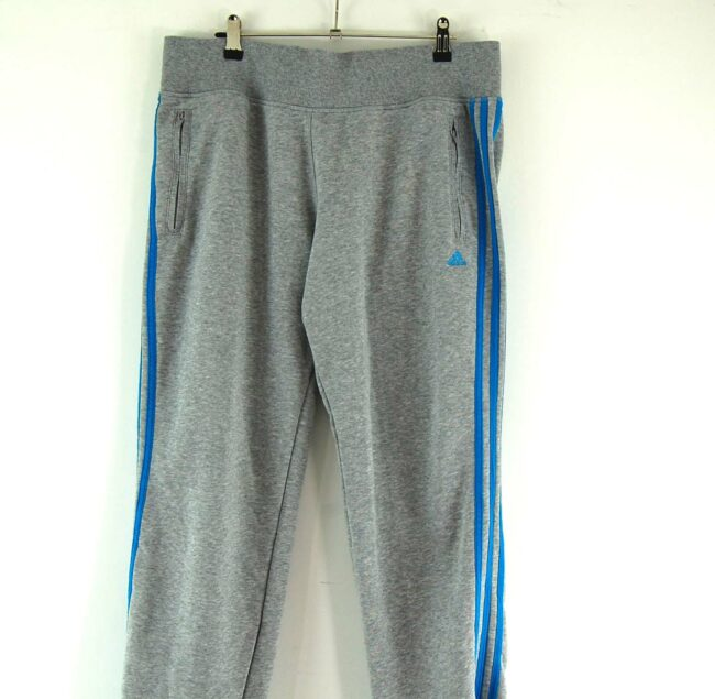 Close up front of Grey Adidas Tracksuit Bottoms