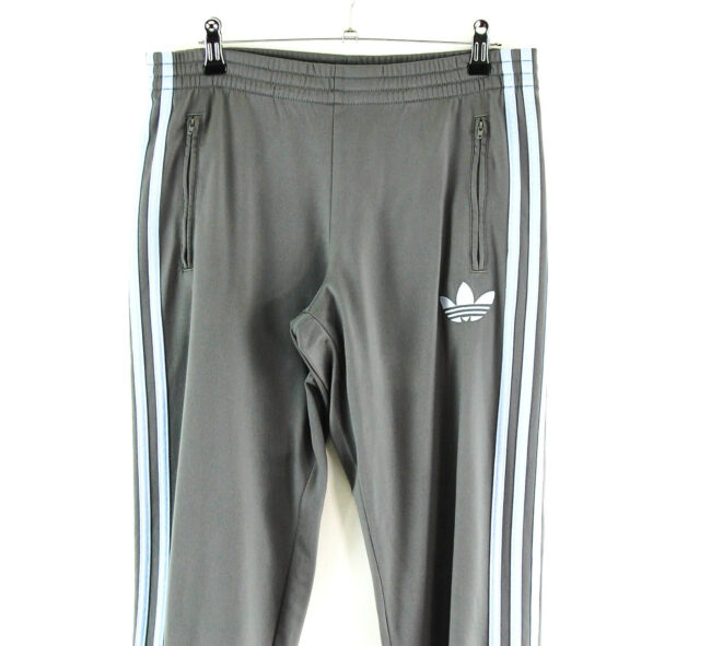 Grey Adidas Tracksuit Trousers close up