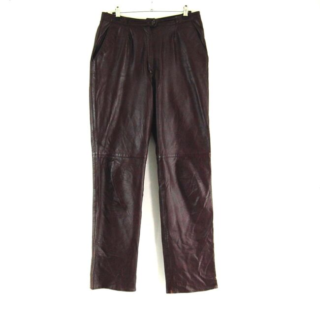 90s Brown Straight Leg Leather Trousers