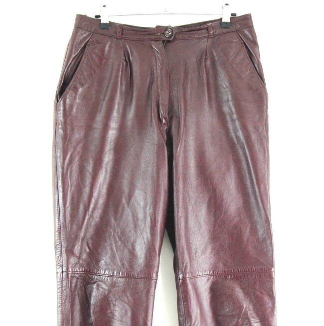 90s Brown Straight Leg Leather Trousers close up