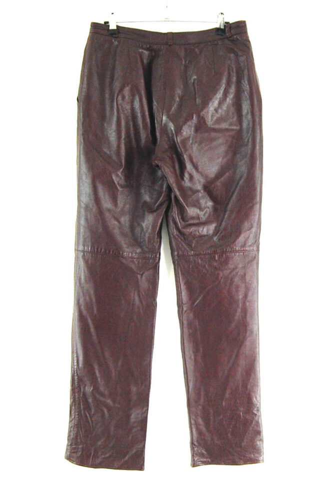 90s Brown Straight Leg Leather Trousers back