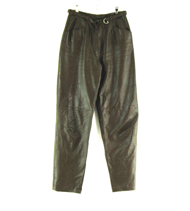 90s Belted Leather Trousers