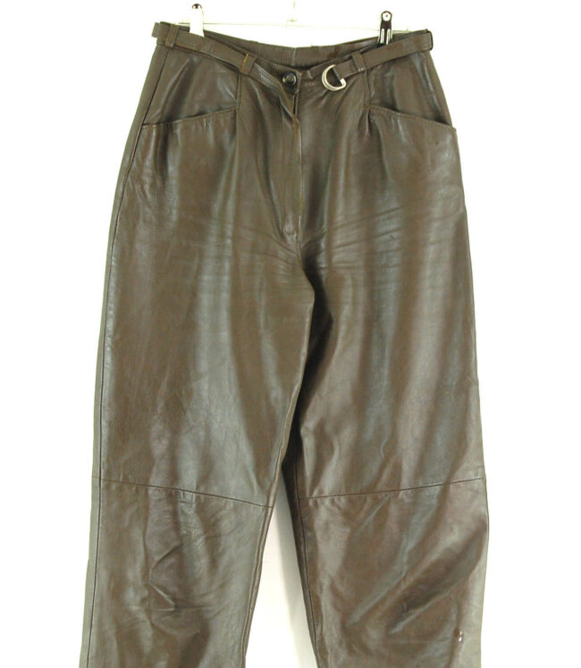 90s Belted Leather Trousers close up