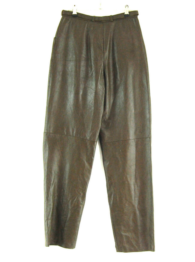 90s Belted Leather Trousers close up back