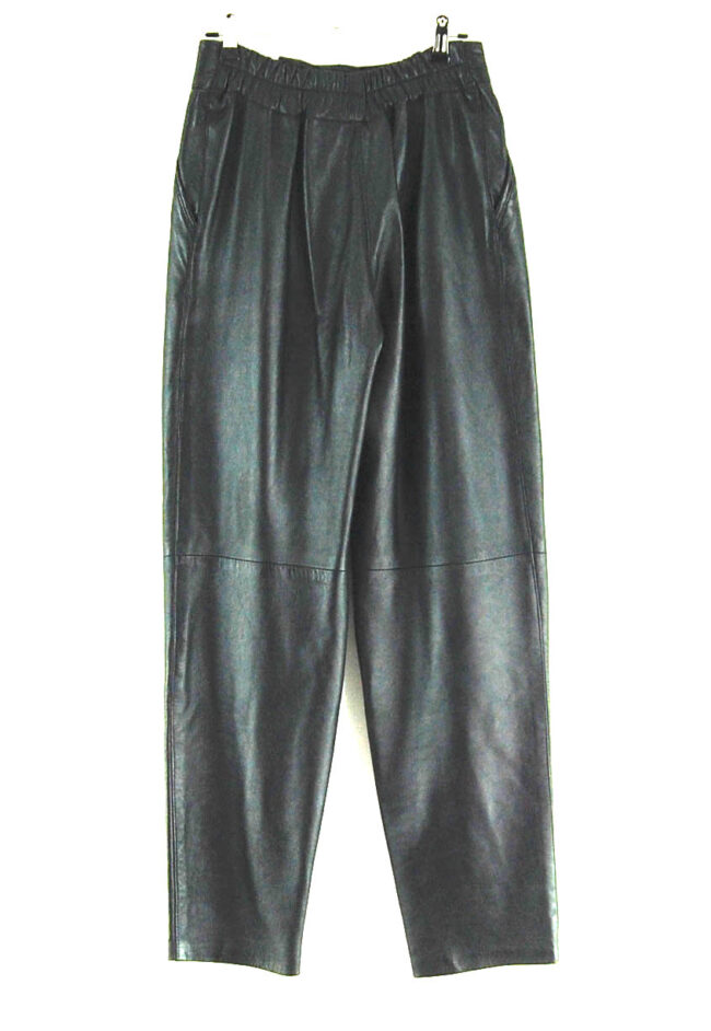 80s Black Leather Trousers back