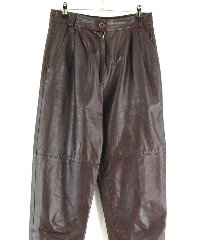 80s Brown Leather Trousers Close Up