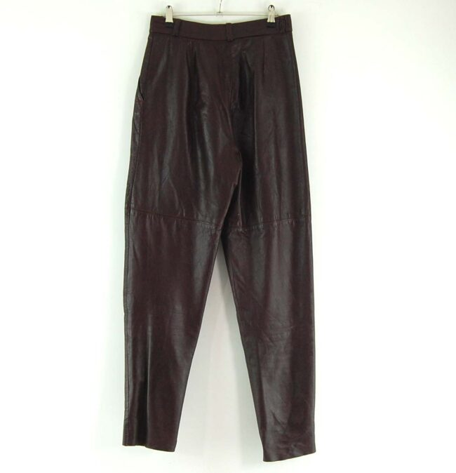 80s Brown Leather Trousers Back