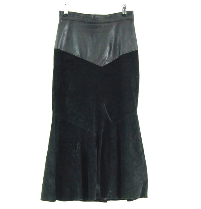 90s Leather and Suede Skirt