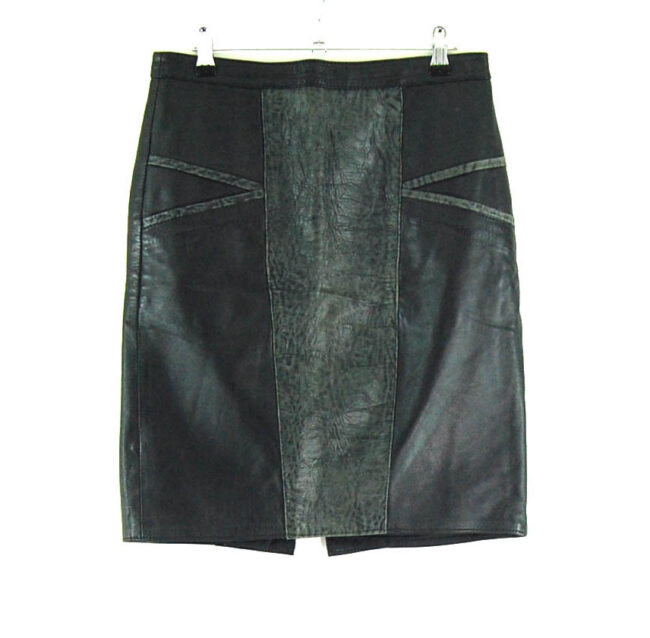 80s Patchwork Black Leather Skirt