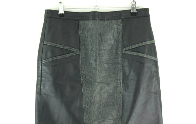 80s Patchwork Black Leather Skirt close up