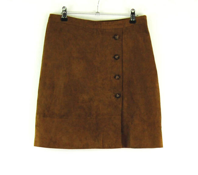 90s Button Through Leather Skirt