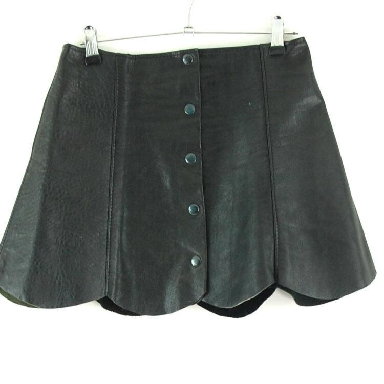 70s Leather Button Through Mini Skirt