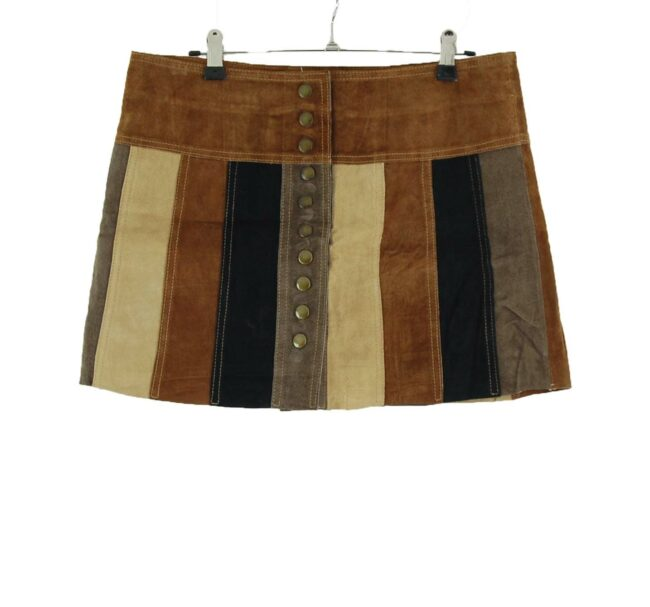 Patchwork Leather Mini Skirt