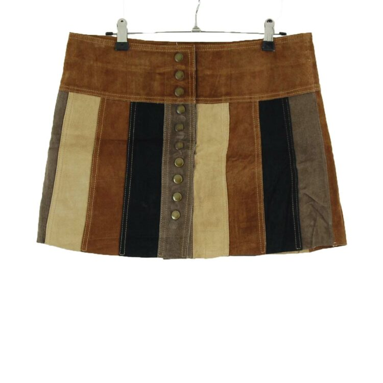 Patchwork Leather Mini Skirt