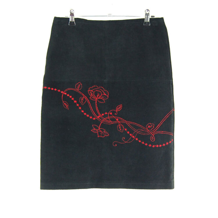 90s Embroidered Leather Skirt