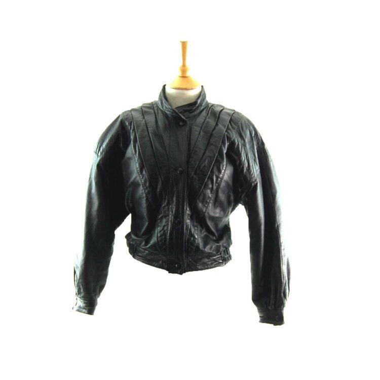 80s Cropped Black Leather Jacket
