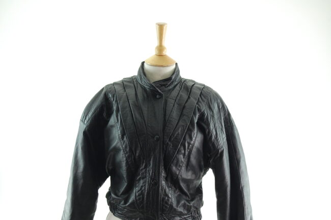 80s Cropped Black Leather Jacket Close Up