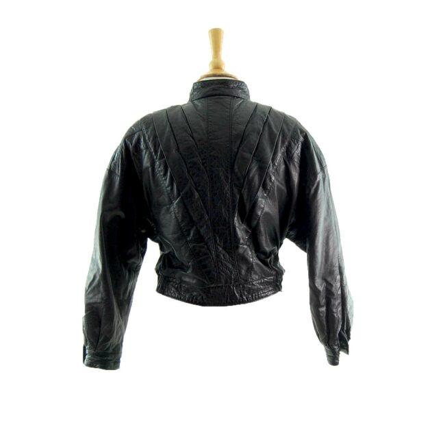 80s Cropped Black Leather Jacket Back