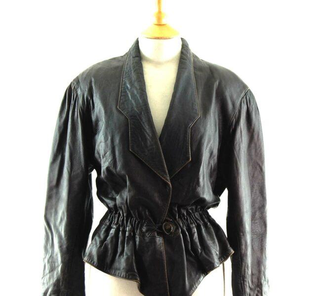 80s Cropped Elastic Waist Jacket Close up
