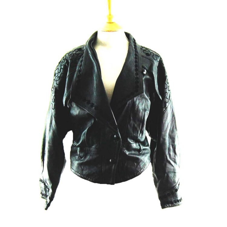 80s Embroidered Leather Jacket