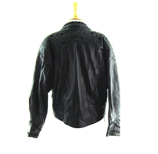 80s Embroidered Leather Jacket back