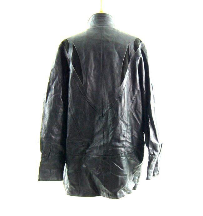80s Black Leather Coat back