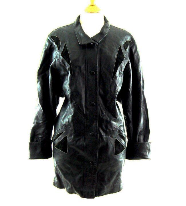 80s Black Leather Coat