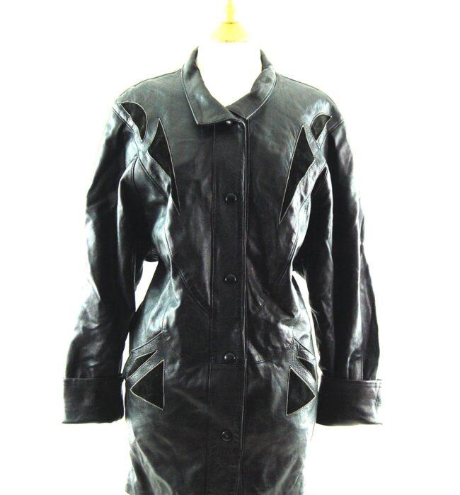 80s Black Leather Coat close up