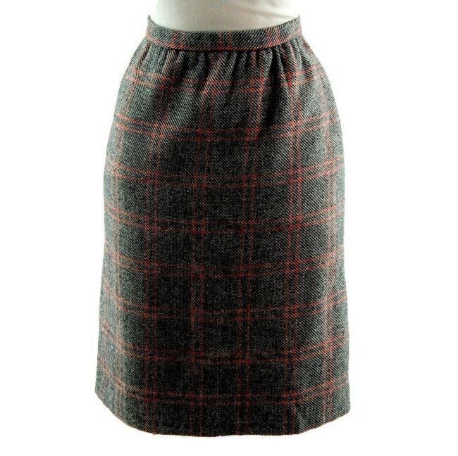 60s wool check skirt