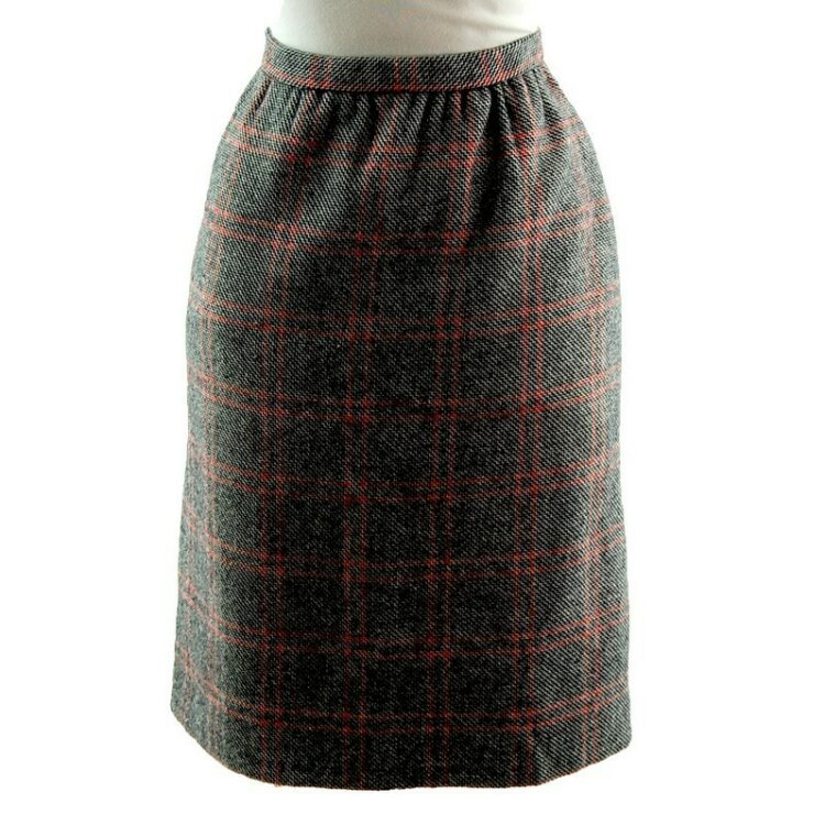 60s wool check skirt