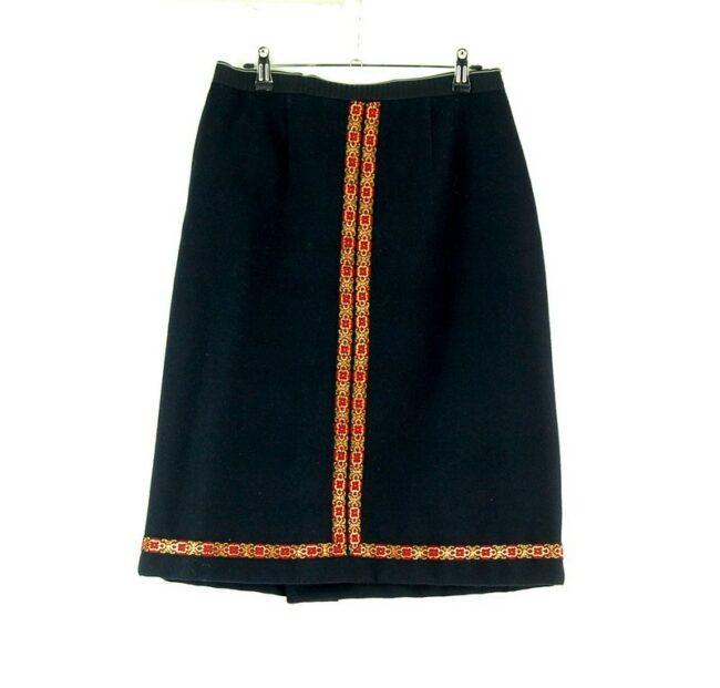 60s black wool skirt