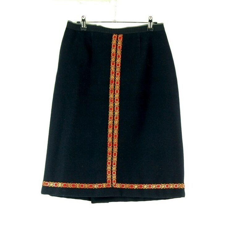60s black wool skirt