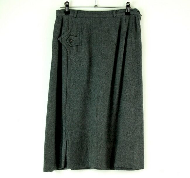 60s charcoal grey wool skirt