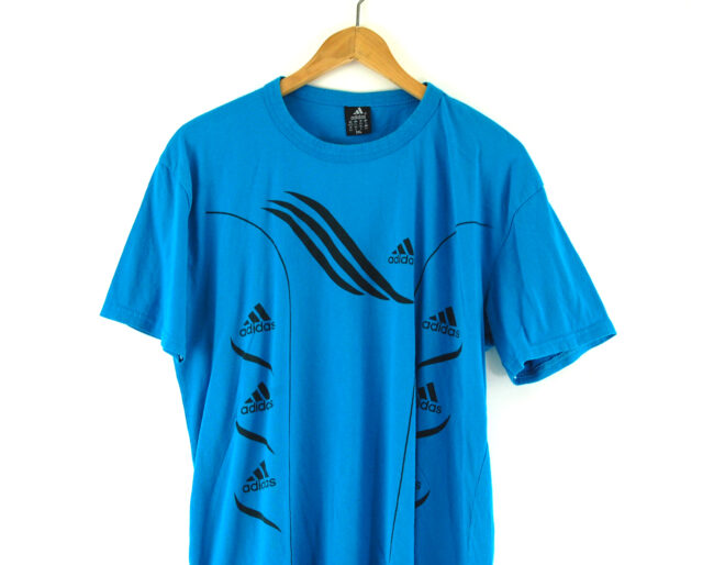 Front close up of blue Adidas t-shirt