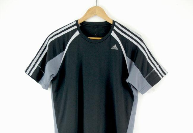 Adidas Black Mesh t-shirt close up