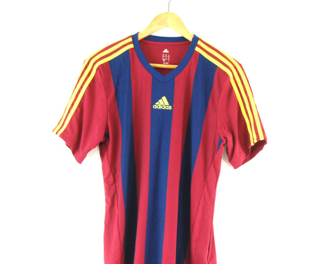 Adidas striped football t-shirt close up