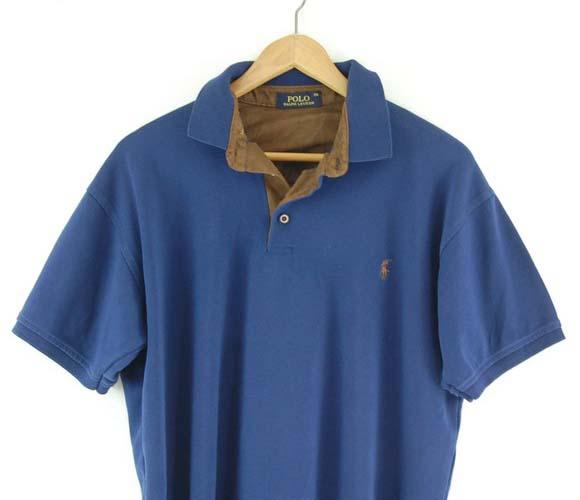 Blue Ralph Lauren polo shirt close up