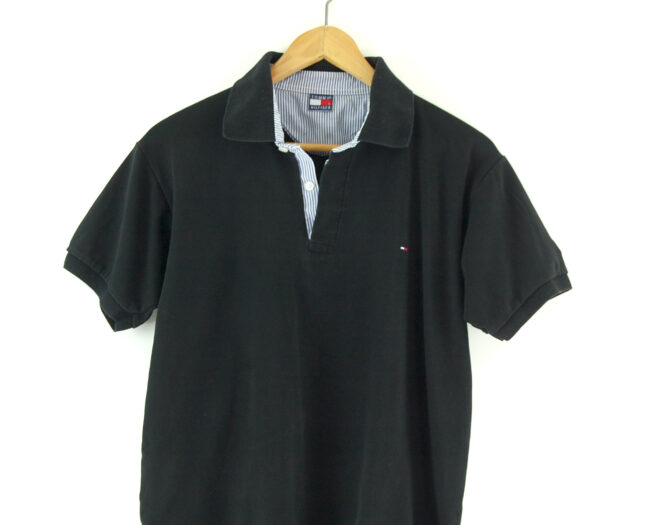 Black Tommy Hilfiger Polo Shirt close up