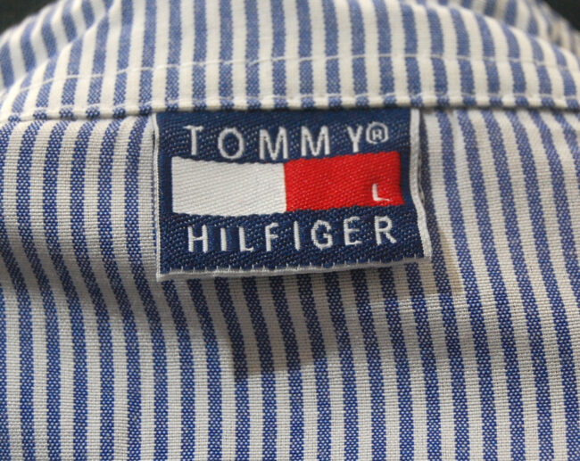Black Tommy Hilfiger Polo Shirt label