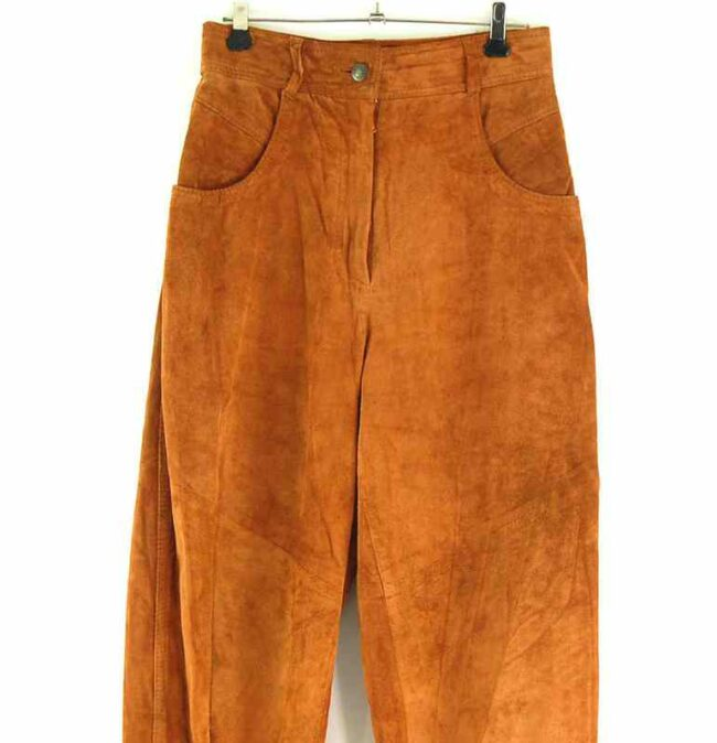 Front close up of 90s Brown Suede Trousers