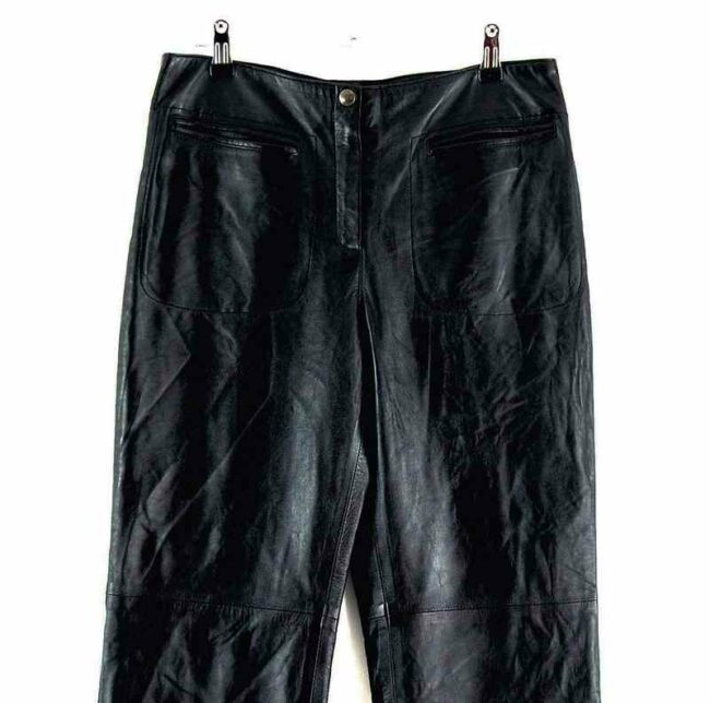 Front close up of 90s Straight Leg Leather Trousers
