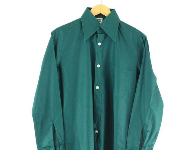 Close Up Back Of 70s Dark Green Shirt