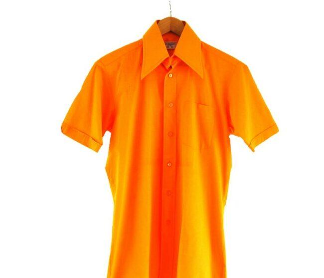 Close Up of 70s Orange Short Sleeve Shirt