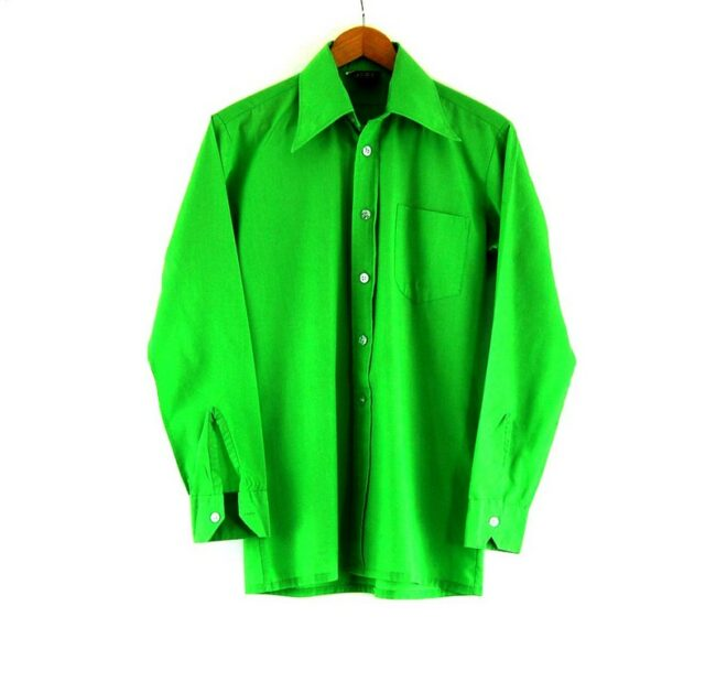 70s Green Shirt With Pointed Collar